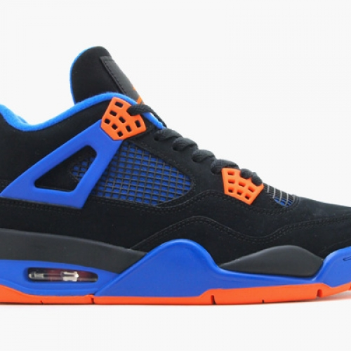 NIKE AIR JORDAN 4 RETRO BLACK/SAFETY ORANGE-GAME ROYAL