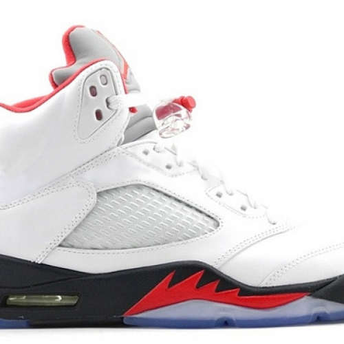 NIKE AIR JORDAN 5 RETRO WHITE/FIRE RED-BLACK